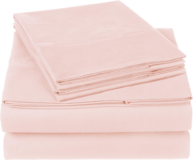 Pinzon 300 Thread Count Organic Cotton Bed Sheet Set - King, Blush Pink