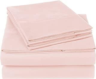 Pinzon 300 Thread Count Organic Cotton Bed Sheet Set - Queen, Blush Pink