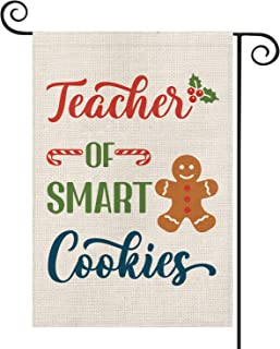 AVOIN Teacher of Smart Cookies Garden Flag Vertical Double Sized, Christmas Winter Holiday Candy Canes Gingerbread Burlap Yard Outdoor Decoration 12.5 x 18 Inch