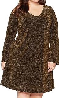 فستان كارين كين للنساء مقاس كبير ذهبي اللون