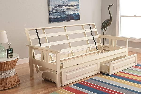 Monterey Futon Sofa In Antique White Finish With Storage Drawers