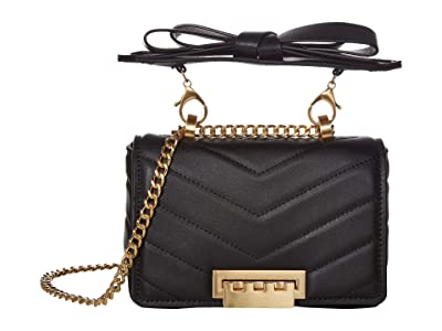 ZAC Zac Posen Soft Earthette Mini Chain Shoulder Solid (Black) Handbags