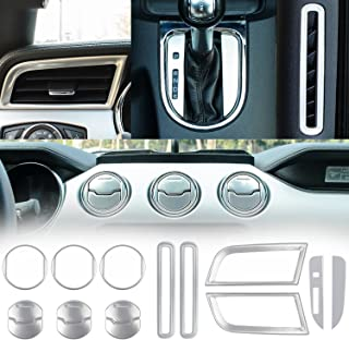 Danti Car Interior Accessories Decoration Trim Console Central & Car Door & Dash Board Side Air Conditioner Outlet Vent, Shift Gear Box Switch Button Cover Trim For 2015-2019 Ford Mustang (Silver)