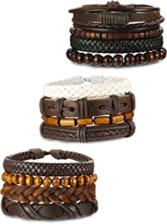 ORAZIO 4-12Pcs Wooden Beaded Bracelet Leather Braided Bangle for Men and Women Elastic 5-8MM Beads