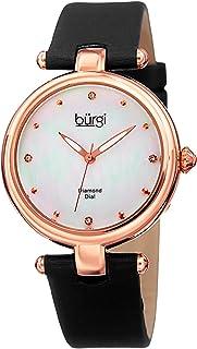 ساعة يد بمينا ابيض وسوار ساتان للنساء من بورغي - طراز BUR169BK