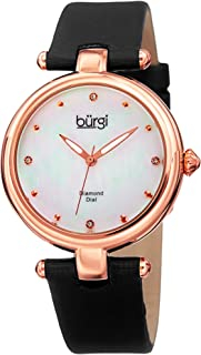 BUR169 Designer Women's Watch with Diamond Accented Markers on Mother of Pearl Dial – Skinny Genuine Leather Bracelet Strap - Classic Round Analog Quartz
