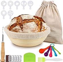 مجموعة سلة صنع الخبز من يوسين، سلال مدورة 9 انش لخبز العجين المخمر، ادوات صنع الخبز للخبازين المنزليين والاحترافيين