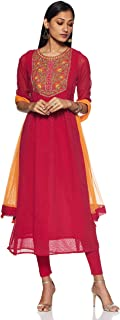 Aurelia Women's synthetic a line Salwar Suit Set (19AUD10135-600550_ T-Pink_ Small)