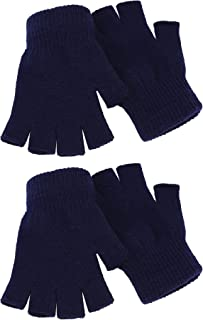 Best 2 Pair Unisex Half Finger Gloves Winter Stretchy Knit Fingerless Gloves in Common Size Review