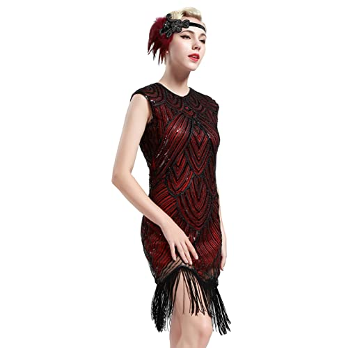 7d0493cf74f39b BABEYOND Damen Kleid Retro 1920s Stil Flapper Kleider voller Pailletten  Runder Ausschnitt Great Gatsby Motto Party