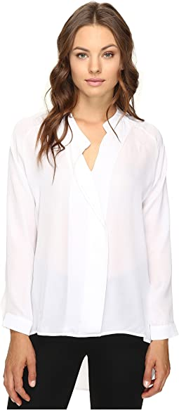 Long Sleeve Silk Collared Blouse