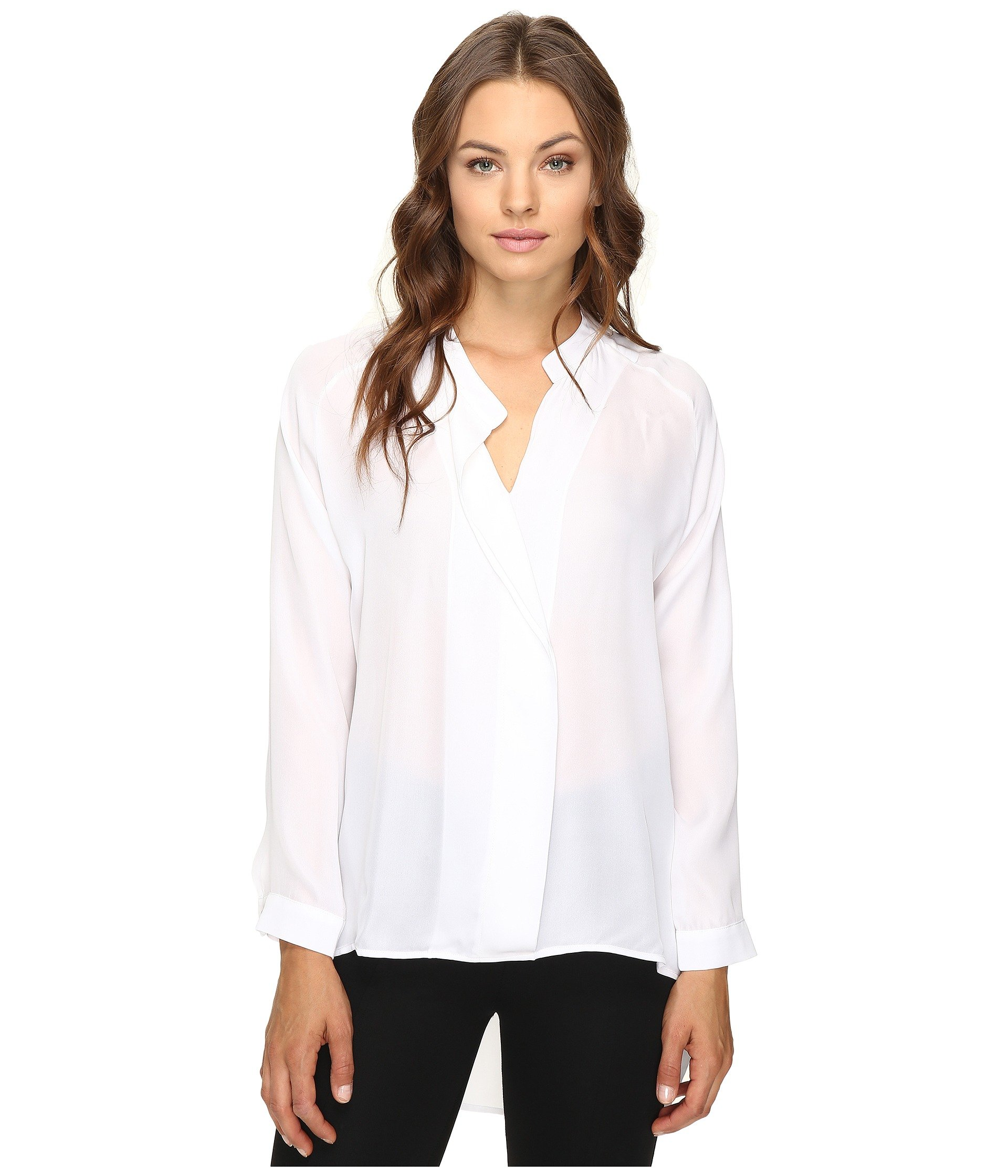 HEATHER Long Sleeve Silk Collared Blouse, White