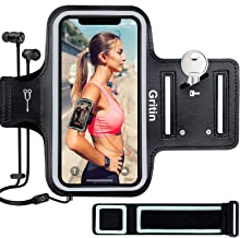 "Gritin Running Armband for iPhone 11/11 Pro/XS/XR/X/8/7/6 Plus, Skin-Friendly Sweatproof Sports Running Armband with Key and Headphone Slot for Phones up to 6.1""- Perfect for Jogging, Gym, Hiking"