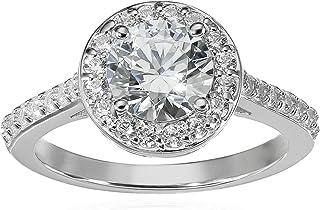 Amazon Collection 镀铂金925纯银结婚戒指,镶有圆形施华洛世奇,氧化锆中心和指环(1.5 cttw)