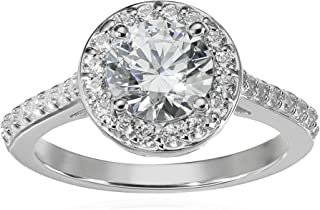 Platinum or Gold Plated Sterling Silver Round Halo Ring made with Swarovski Zirconia