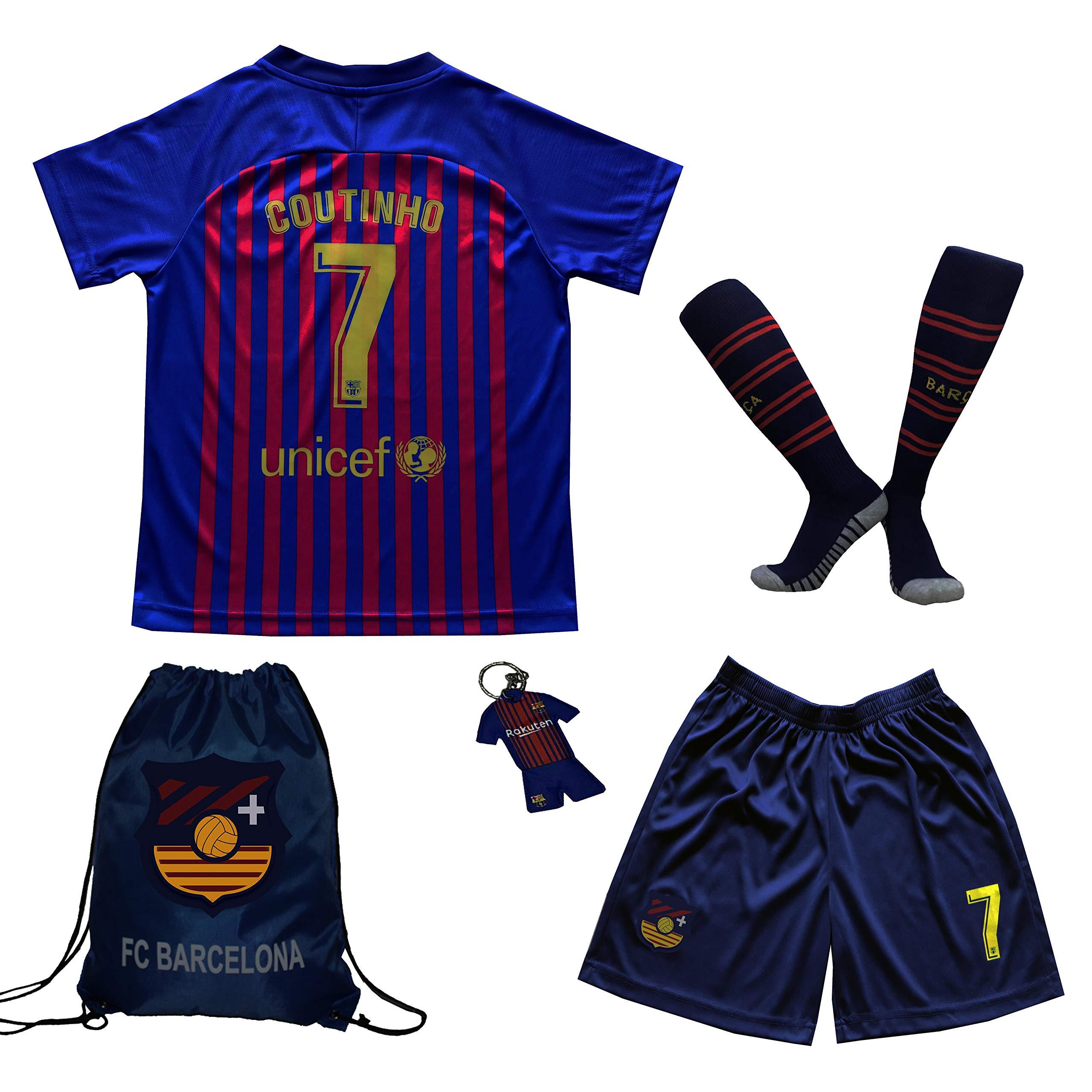 BIRDBOX 青年运动装 Barcelona Coutinho 7 儿童家庭足球运动衫/短裤包钥匙扣足球袜套装