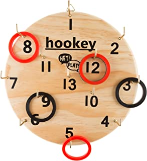 Hey! Play! Hookey Ring Toss Game Set for Outdoor or Indoor Play, Safe Alternative to Darts for Adults and Kids
