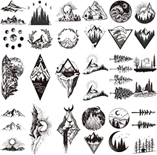 22 Sheets Mountain Temporary Tattoos Stickers, Including Fake Tattoos Waterproof Fake Black Geometry Sun Star Moon Tree Triangle Sea Wave Tattoos, Semi Permanent Tattoos for Adult and Kids