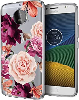 BAISRKE Moto G5s Plus Case, Moto G5S+ Case with Flower Slim Shockproof Clear Floral Pattern Soft Flexible TPU Back Cove for Moto G5s Plus & G5S+ (2017)[Purple Pink]