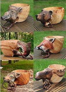 Kuksa Ręcznie Rzeźbiony Drewniany Kubek - kuksa guksi zwierzęta głowa obrazek , drewniany kubek kuksa dla podróżników i ca...