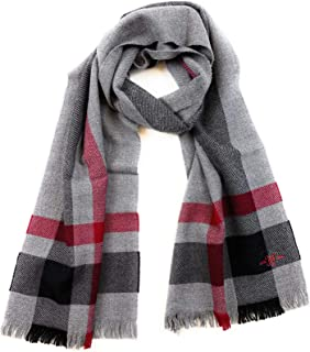 Men's Wool Scarf - 100% Australian Merino Wool, 72 inches x 14 inches, by Hickey Freeman (Grey with Bordeaux Exploded Plaid)