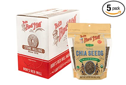 Bob's Red Mill Resealable Organic Chia Seeds, 72 Oz, Pack of 5