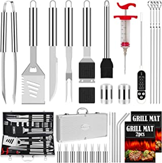 ROMANTICIST 31pcs Stainless Steel Grill Tool Set, Heavy Duty BBQ Grilling Accessories for Men Women, Non-Slip Grill Utensils Kit with Thermometer Mats in Aluminum Case for Outdoor, Camping, Travelling