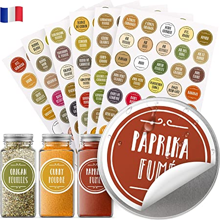 Vinta 210 autocollants en français pour bocaux à épices ; étiquettes cuisine de couleur pour pots à épices ; résistants à l'eau et à l'huile ; ronds ; 38 mm ; avec autocollants supplémentaires vierges