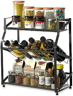 eletecpro Kitchen Spice Rack Storage Organizer,3-Tier Stainless Steel Sauce Seasoning Jars Bottle Rack,Countertop Freestanding Shelf Bathroom Standing Rack Holder Display Shelves