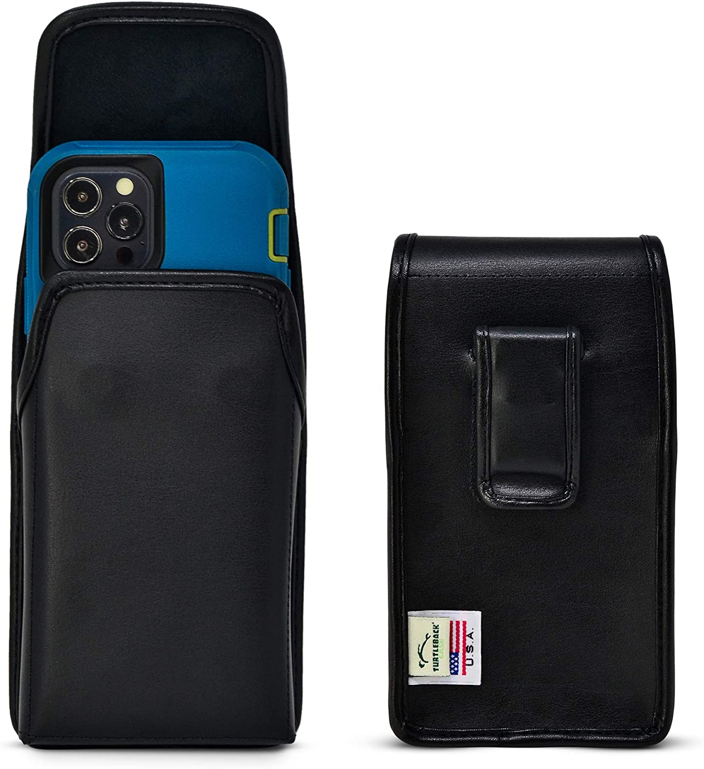 Turtleback Holster Designed for iPhone 12 13 & Pro Fits w/OB Defender or Bulky Cases, Vertical Belt Case Black Leather Pouch with Executive Belt Clip, Made in USA