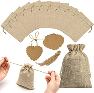 30pcs Burlap Bags with Drawstring and Kraft Paper Tags, Burlap Gift Bag Jewelry Pouch Jute Hessian Sack Linen Packing Storage for Wedding Party Birthday Holiday Treat DIY Art Craft Christmas Favor