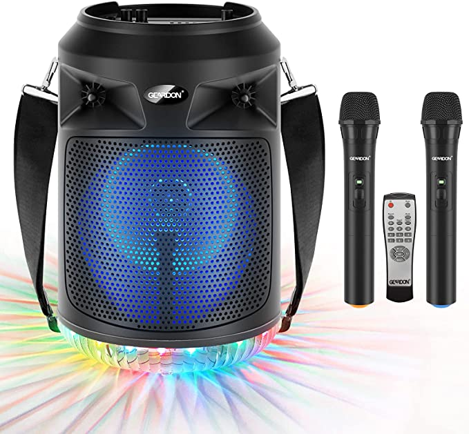 """Amazon.com: GEARDON Bluetooth Speaker with Wireless Microphones, 8"""" Subwoofer, Portable Outdoor Karaoke Machine for Adults & Kids w/ DJ Lights, Mics for Singing, Recording, BT/AUX/USB/TF/FM, Party Loud-Speaker : Musical Instruments"""