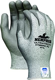 Memphis Glove 9676L UltraTech Dyneema 13-Gauge PU Coating Washable Gloves, Salt and Pepper, Large, 1-Pair