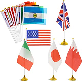 Juvale 24-Piece International World Country Desk Flags with Stands, 8.3 x 5.5 Inches