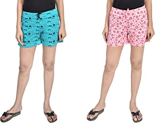 A9- Women Printed Green, Pink Shorts - Pack of 2