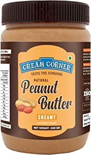 CREAM CORNER Peanut Butter Creamy Protein, High Protein, Roasted Peanuts Low Carb, Gluten Free(500g)