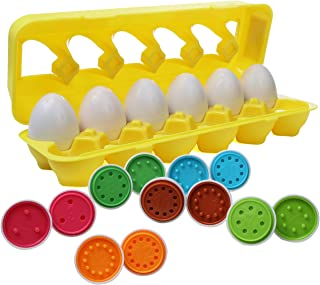 IQ Toys Matching Egg, Toddler Match an Egg Toy, Set of 12 Color and Number Eggs