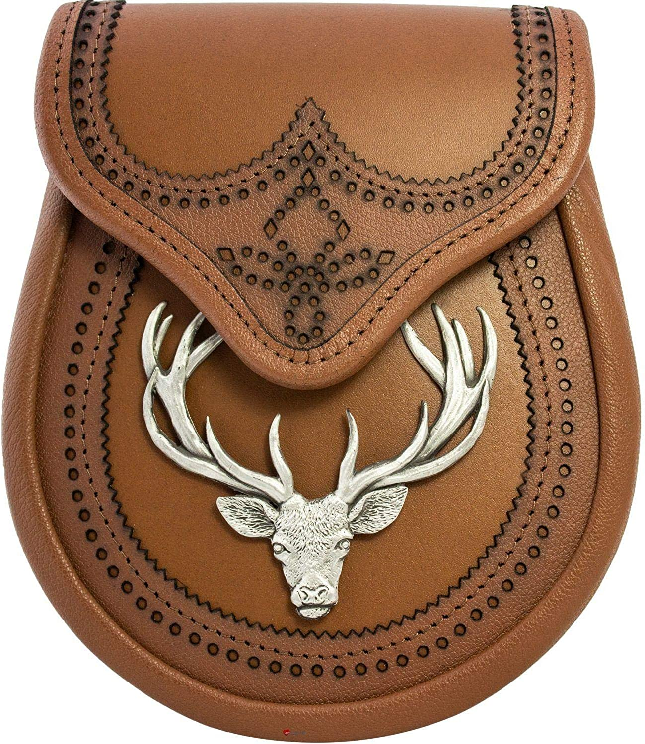 Day Sporran For Kilts, Tan Leather, Stag Head Metal Badge Antique Finish Scottish Made Comes with Sporran Waist Chain