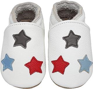 Yavero Zapatos de Bebe Suave Zapatillas de Cuero Cómodas Zapatillas de Andar Bebe Ligeros Zapatitos Primeros Pasos, 0-24 M...