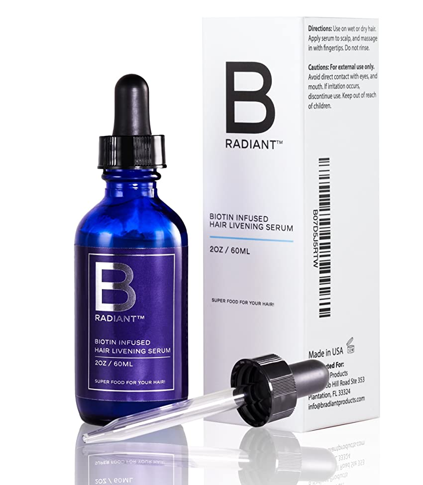 Biotin Hair Growth Serum by B Radiant - Potent Regrowth Treatment Product to Vitalize and Enliven Thinning Hair, Prevent Hair Loss for Thicker and Fuller Hair (Made in USA)
