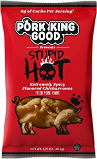 Pork King Good Stupid Hot Pork Rinds - (4 Pack) Low Carb, Keto Diet Friendly Snack - Extremely Spicy Chicharrones