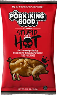 Pork King Good Pork Rinds - (Stupid Hot 4 Pack) Low Carb, Keto Diet Friendly Snack - Extremely Spicy Chicharrones