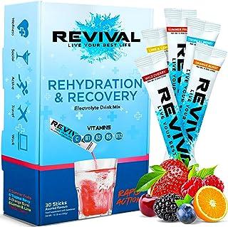 Revival Rapid Rehydration Electrolytes Powder - High Strength Vitamin C, B1, B3, B5, B12 Supplement Sachet Drink, Efferves...