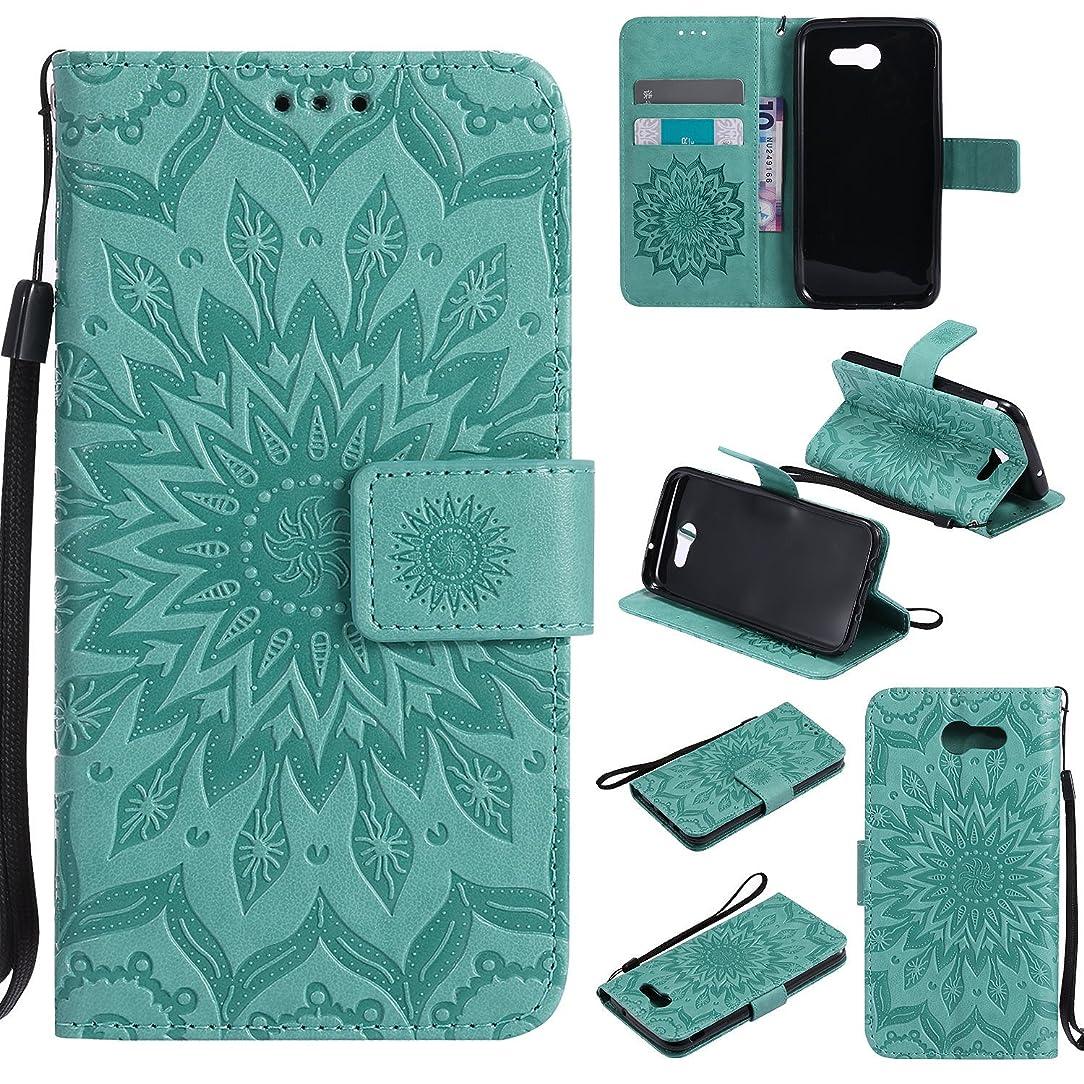 Ropigo Emboss Sunflower Wallet Case for Samsung Galaxy J3 Prime/ J3 2017/ J3 Eclipse/ J3 Emerge/J3 Mission/J3 Luna Pro/Express Prime 2/Amp Prime 2 Flip Leather Protective Case Wrist Strap Mint Green