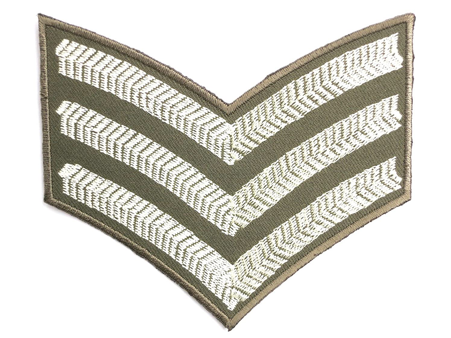 US Sergeant Stripes Army Military WW2 Iron On Sew On Embroidered Patch Approx: 4.2