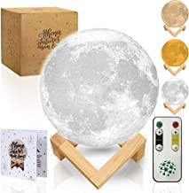 Moon Lamp Moon Light 3D Moon Lamp with Timer - Seamless - 3 Color Moon Night Light with Stand - Mood Lamp Book, Globe, Cool Lamp, USB Charging, with Wooden Stand, Box, Kids, Moonlight LED, 5.9 in