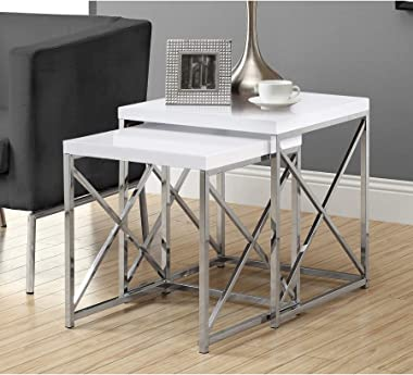 Monarch Specialties , Nesting Table, Chrome Metal, Glossy White, Table Set, 2 pcs