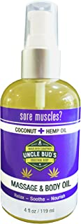 Uncle Buds Massage Oil - Coconut Hemp - for Relaxing Massage,Body oil,Moisturizing Skin and Sore Muscle Relief