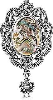 FOPUYTQABG Broche de aleación de los hombres femeninos moda rhinestone material moda exquisita decoración retro accesorios...