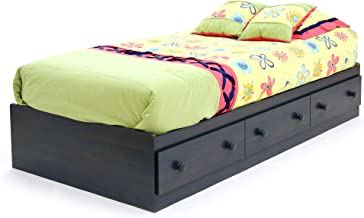 South Shore Summer Breeze Collection Twin Bed with Storage - Platform Bed with 3 Drawers - Blueberry